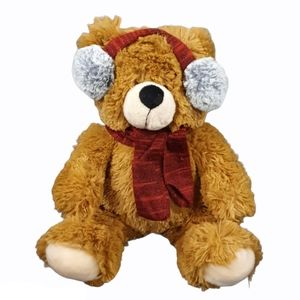 Brown Teddy Bear with Ear Muffs and Scarf